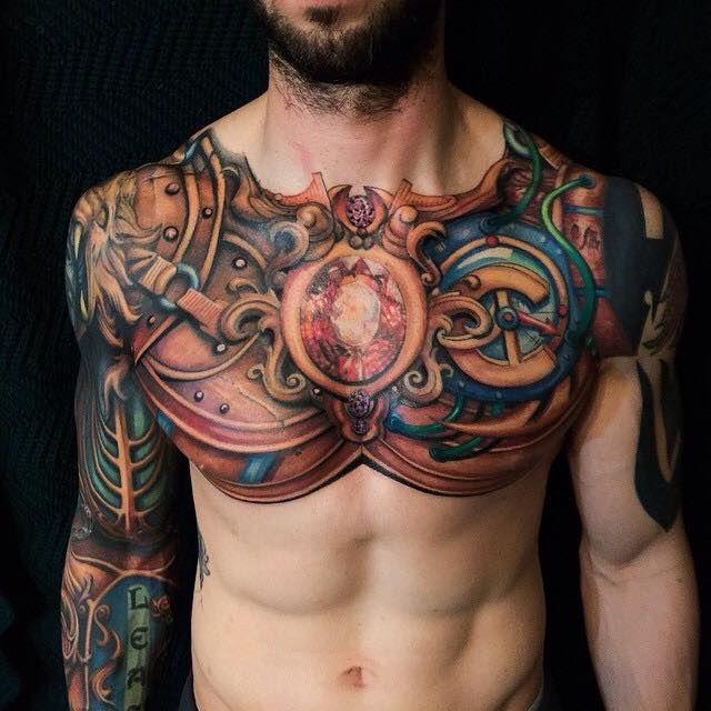 Chest tattoos for men men 39 s tattoo ideas for Heart tattoo nipples