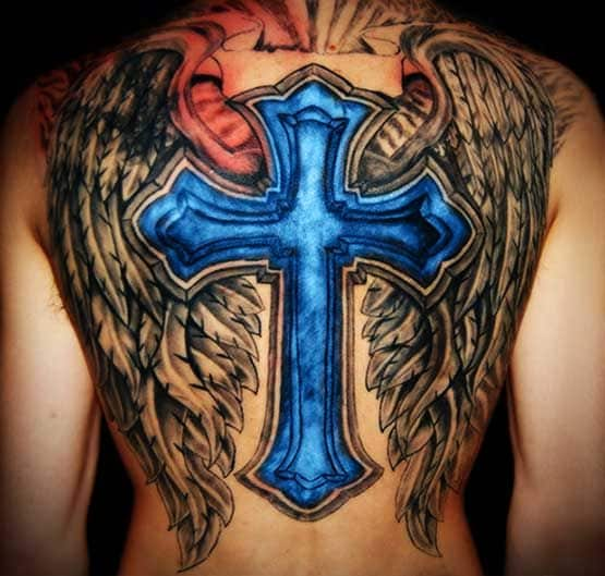 blue cross tattoo and the back