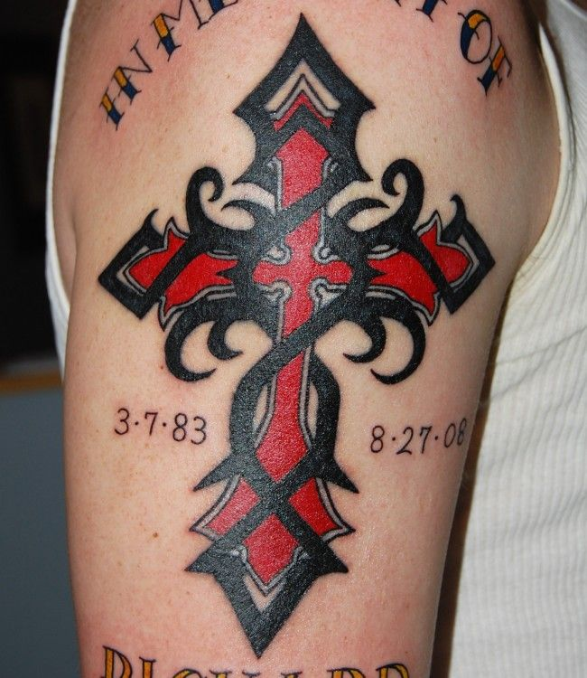 red cross tattooed on sleeve