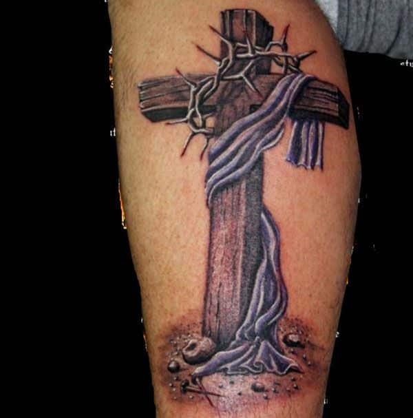 gothic wooden cross tattoo