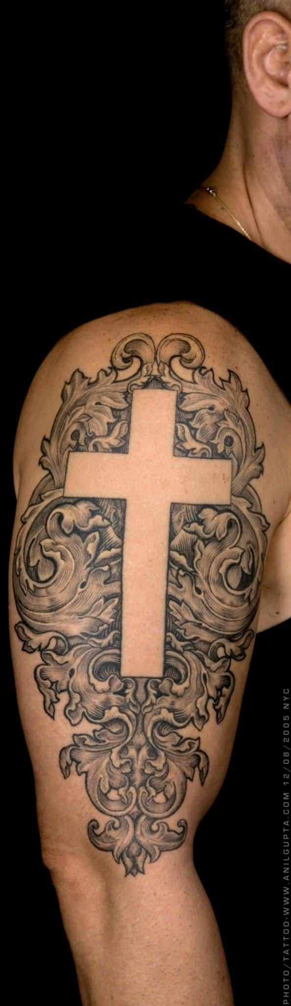 ideal cross sleeve tattoo designs