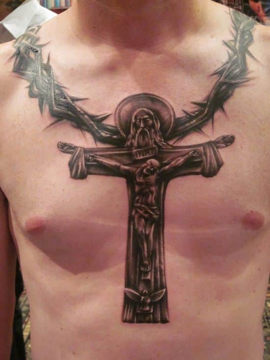 Christian Cross Tattoo on Chest