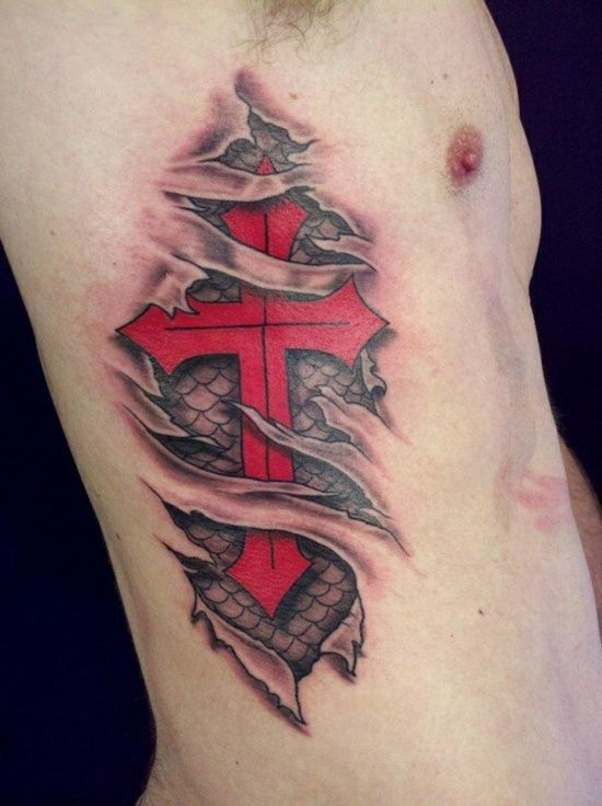 3D Red Cross Tattoo Ideas