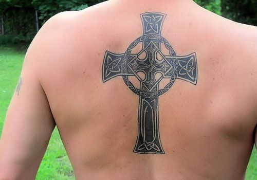 Mens Cross Tattoo on Back