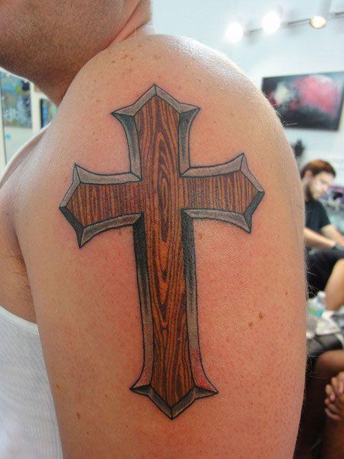 Wooden Cross Tattoo Idea