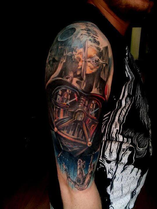 4947ed62c4 The iconic battle between Obi-Wan Kenobi and Darth Vader is displayed in  this star wars tattoo sleeve. Destruction lurks within the galaxy as seen  in the ...