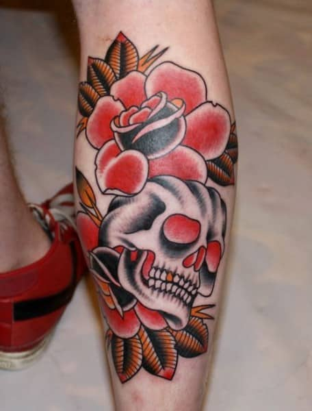 Leg tattoos for men ideas and designs for guys for Skull leg tattoos