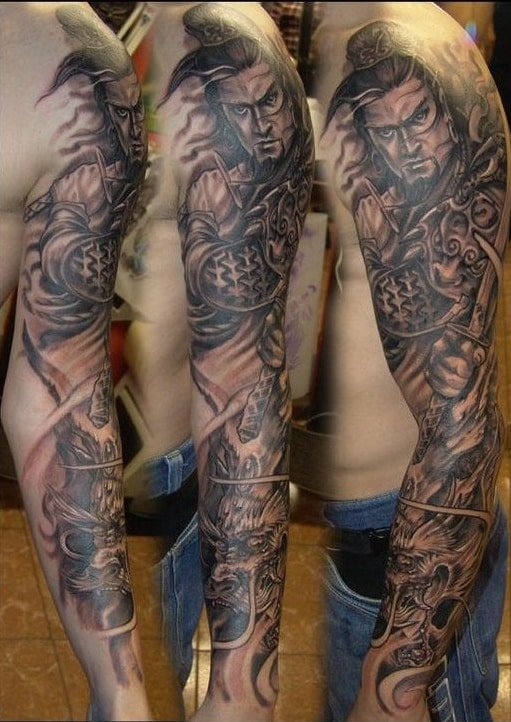 Japanese inspired sleeve tattoo for men
