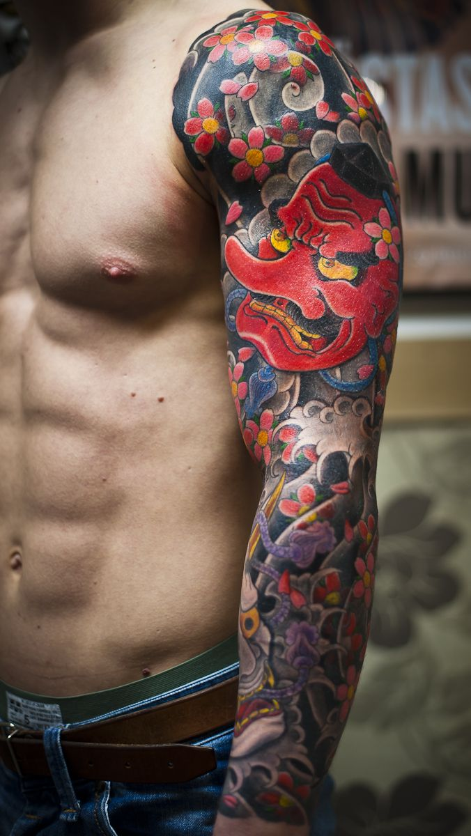 Colorful sleeve tattoo for guys