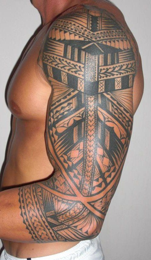 Black Tribal Sleeve Tattoo for Guys