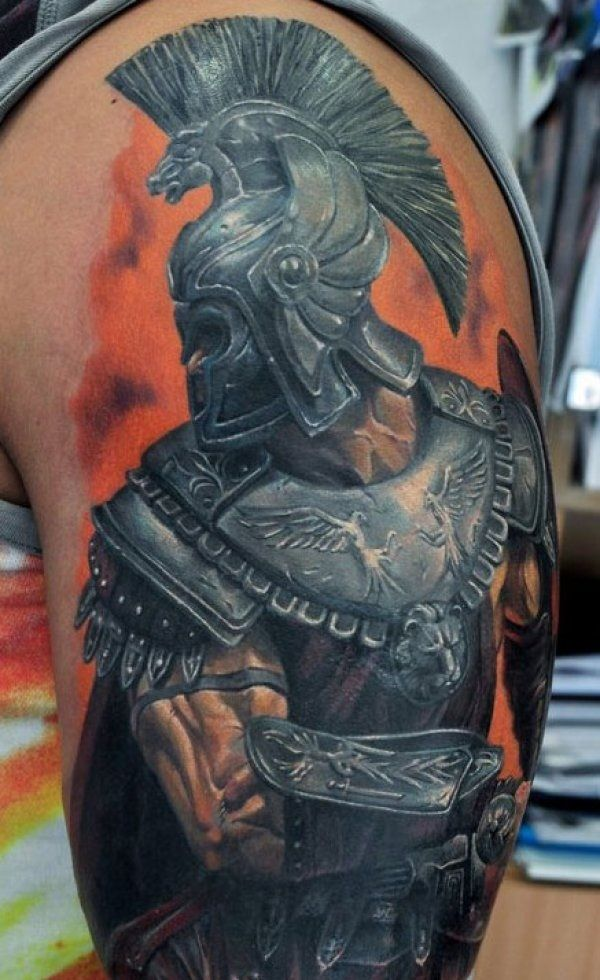 0ba54003630e0 Many tattoos have significant meaning and half sleeve tattoo designs like  this one invoke the spirit of Spartans. On top of a red background, ...