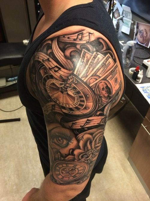 83e5626695814 The featured design is a half sleeve tattoo. From the shoulder musical  notes, money and a roulette wheel is visible, on the lower arm there is the  eye of a ...
