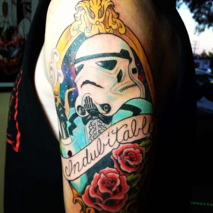 3bb710c0a The stormtrooper in solid white, dabbed with light hues of blue, is  highlighted by its decorative, colorful surroundings. This star wars tattoo  sleeve ...