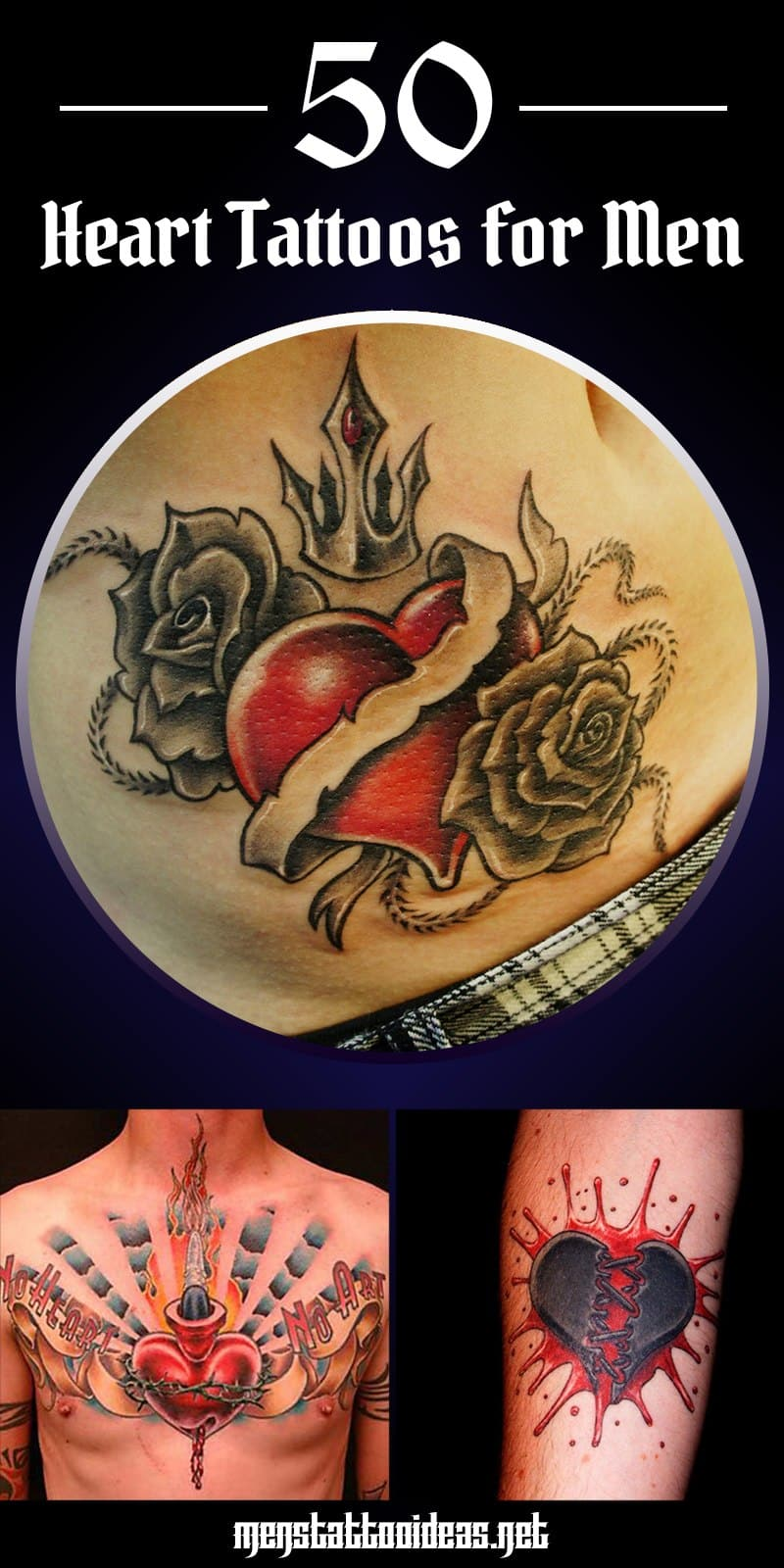 b73d105f4 Heart Tattoos for Men - Design Ideas for Guys