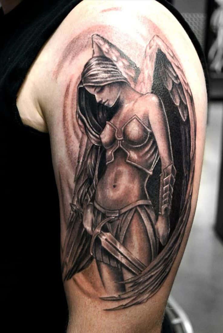 Angel tattoo on men's shoulder