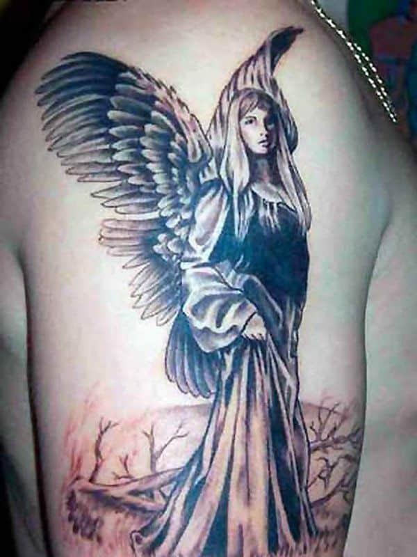 Shoulder tattoo of an angel