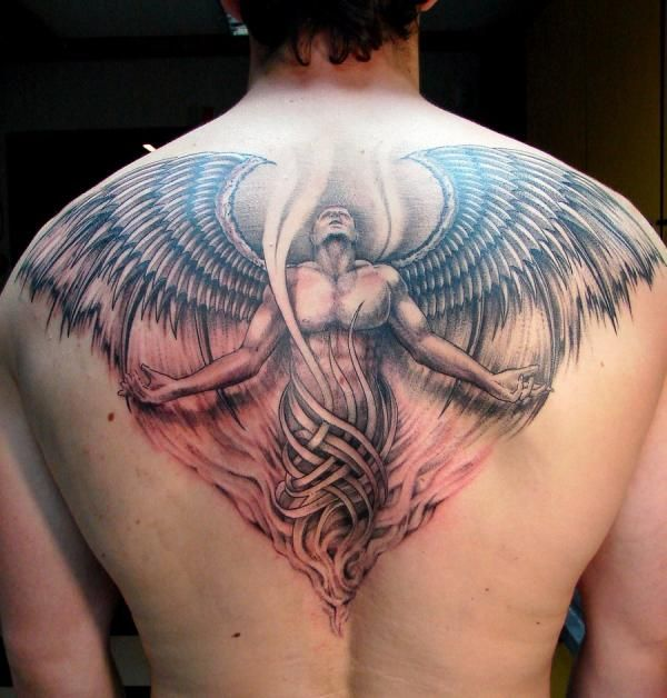 Angel back tattoo for guys