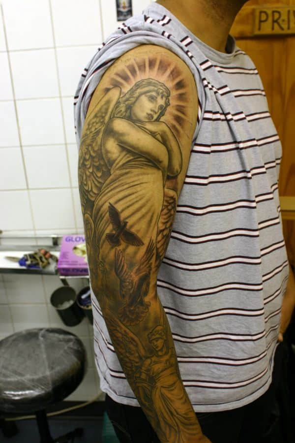 Angel tattoos for men ideas and inspiration for guys for Ideas for half sleeve tattoos for men