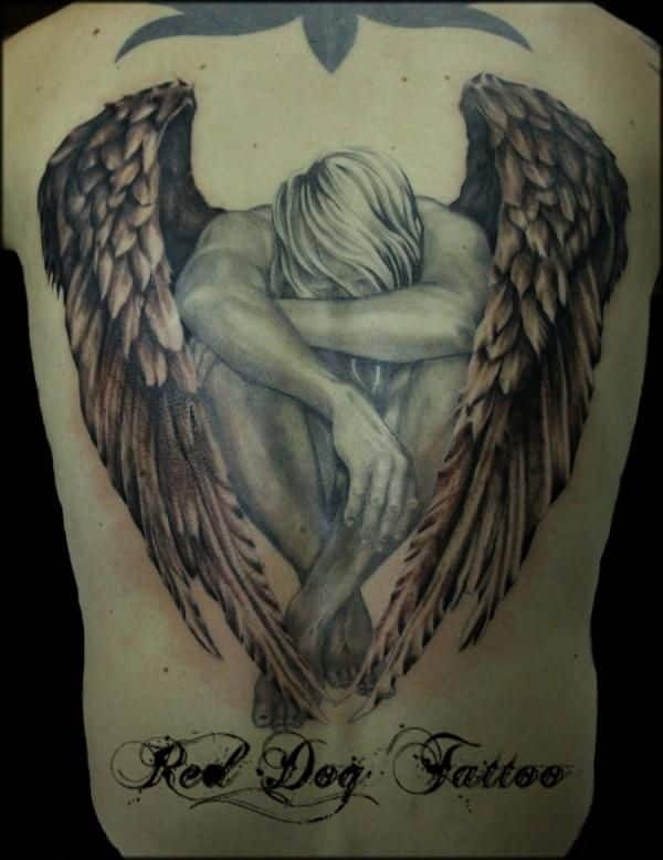 Angel tattoo for men on back