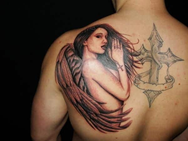 back tattoo of an angel