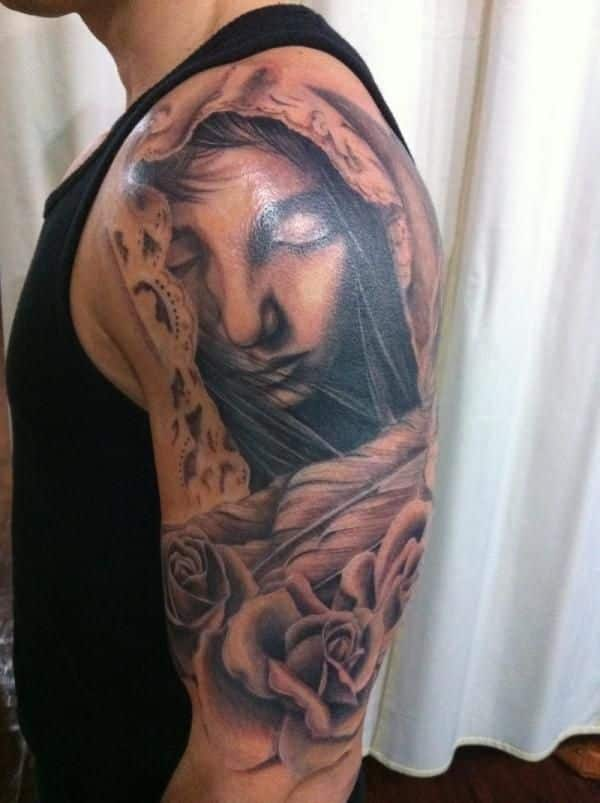 shoulder angel tattoo