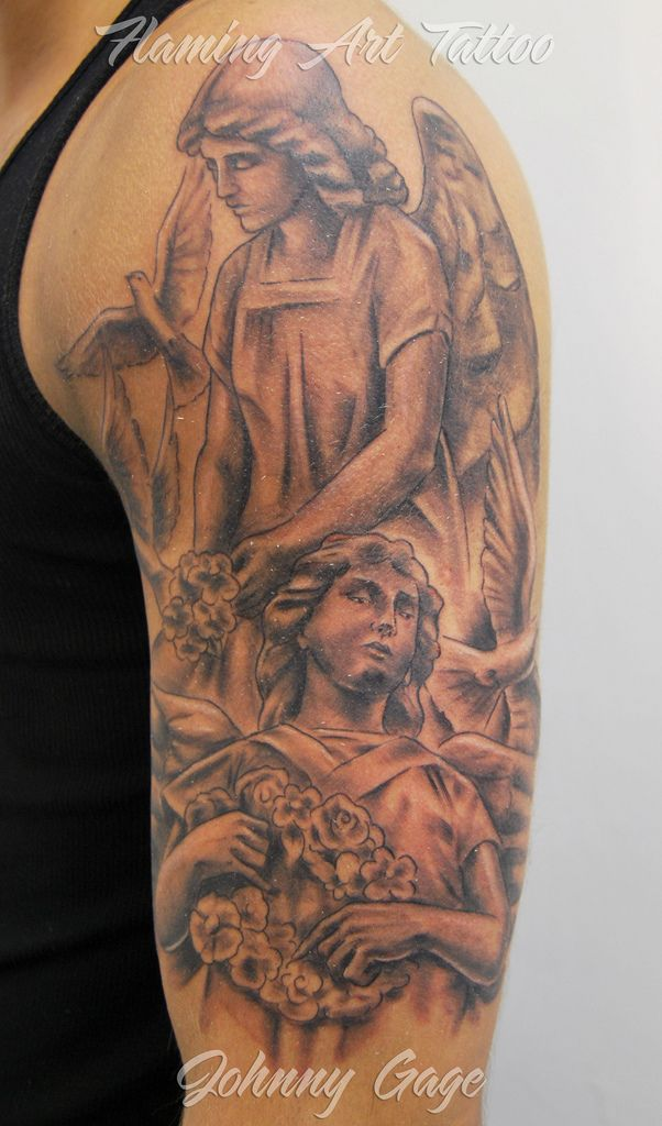 angel shoulder tattoo for guys