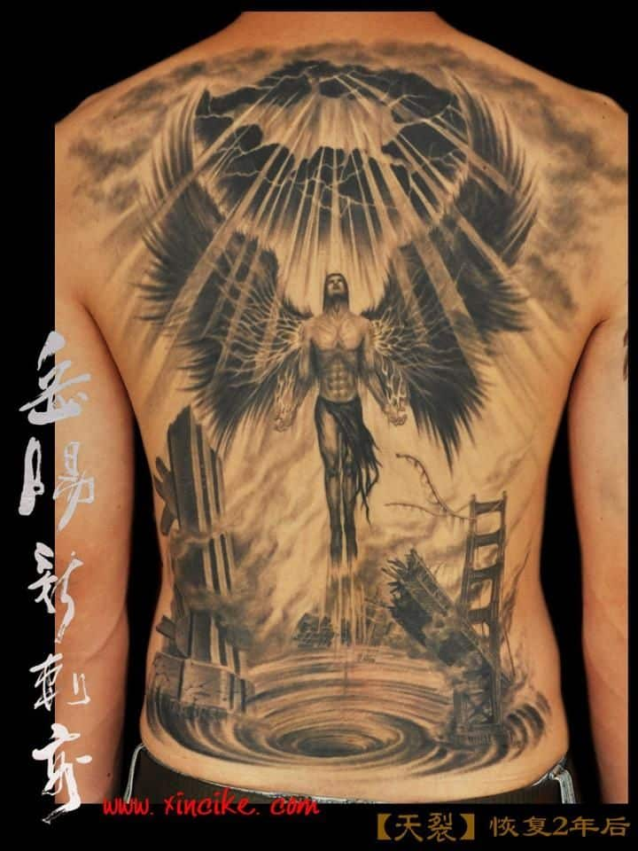 angel tattoos for men ideas and inspiration for guys. Black Bedroom Furniture Sets. Home Design Ideas
