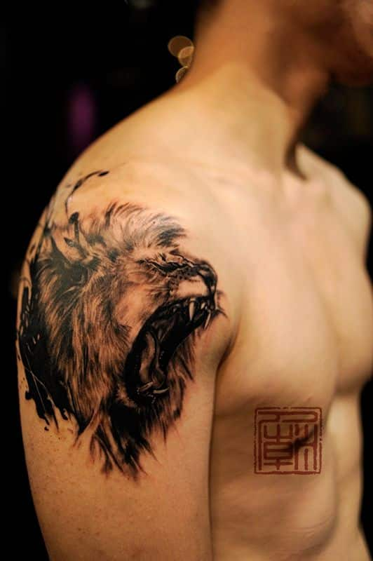 lion side profile tattoo
