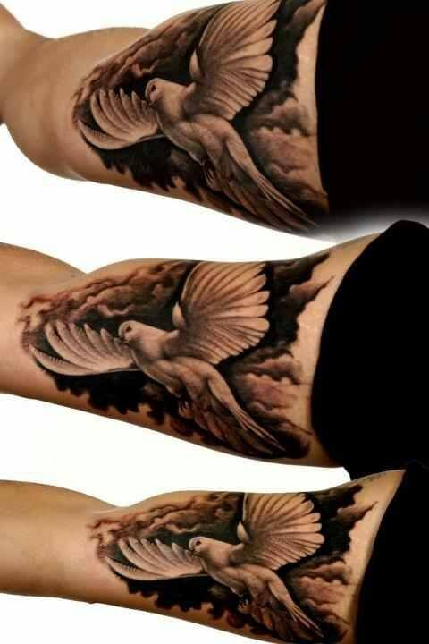 This Is Yet Another Unique Tattoo That Clearly Shows A White Dove