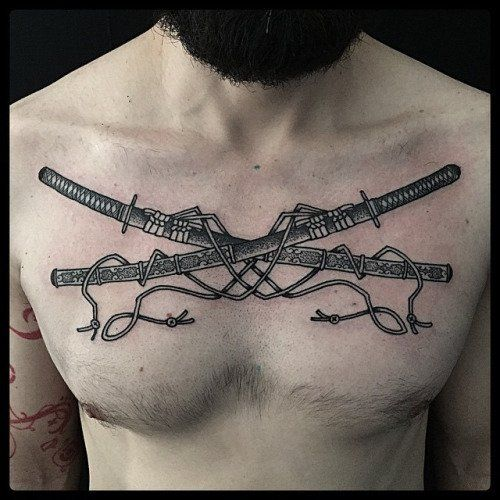 Weapon tattoos for men ideas and inspiration for guys for Crossed swords tattoo