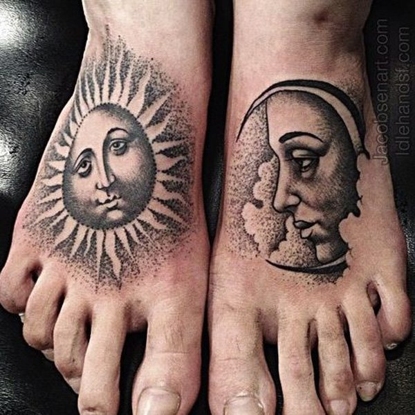 sun and moon tattoos for men ideas and designs. Black Bedroom Furniture Sets. Home Design Ideas
