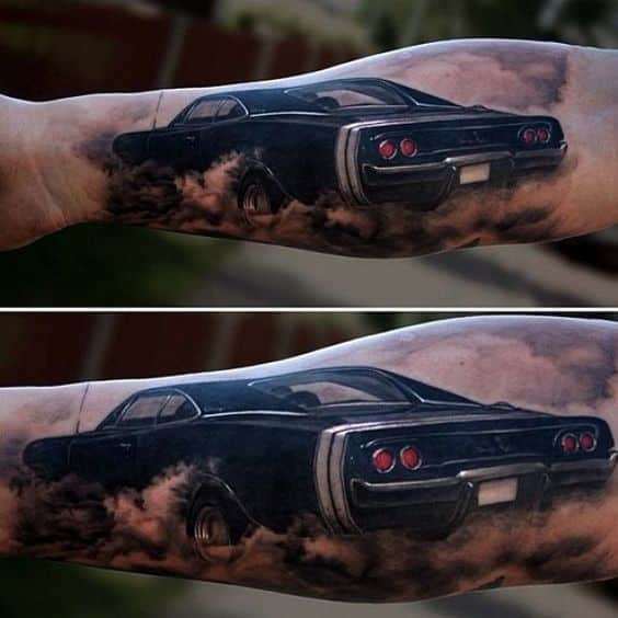 Depicting A Vintage Black Car Gliding Down A Dusty Road, This Is One Of Our  Most Distinctive Tattoo Ideas For Men And Would Be Perfect For Guys Who  Want A ...