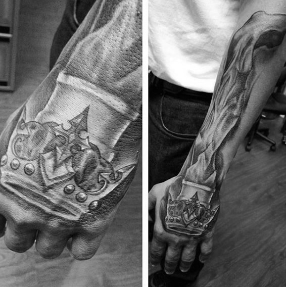 Crown tattoos for men design ideas for guys for Black and white flame tattoo