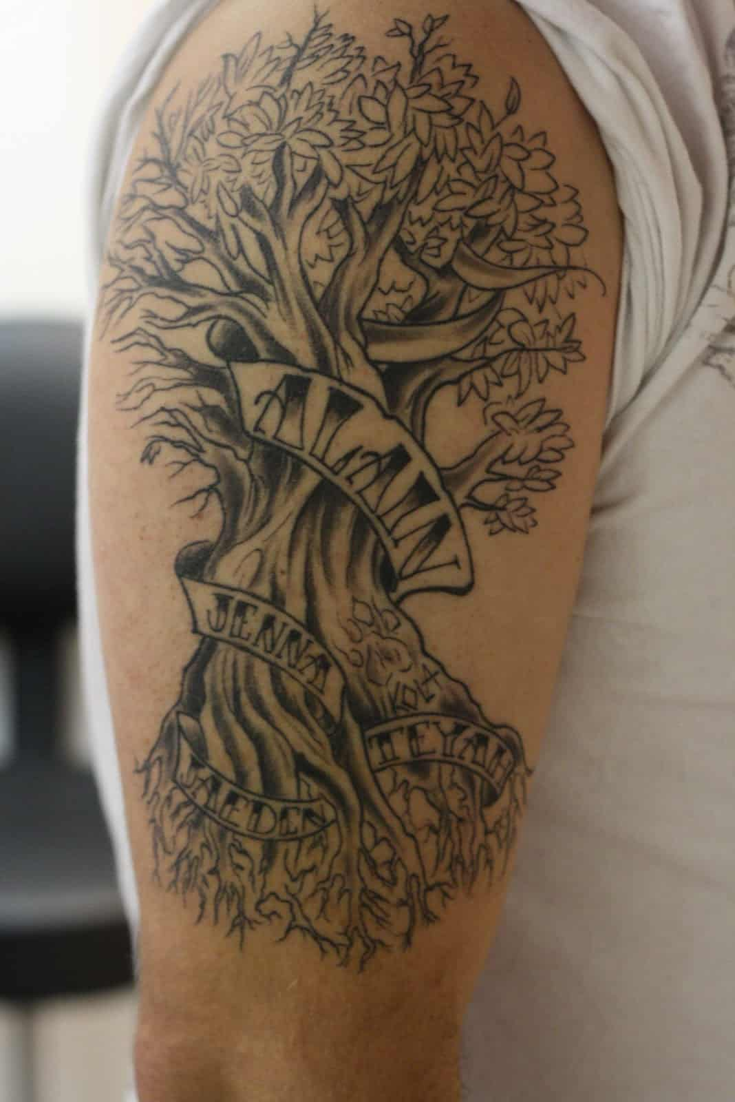 Tattoos Tree for men on shoulder recommend dress for autumn in 2019