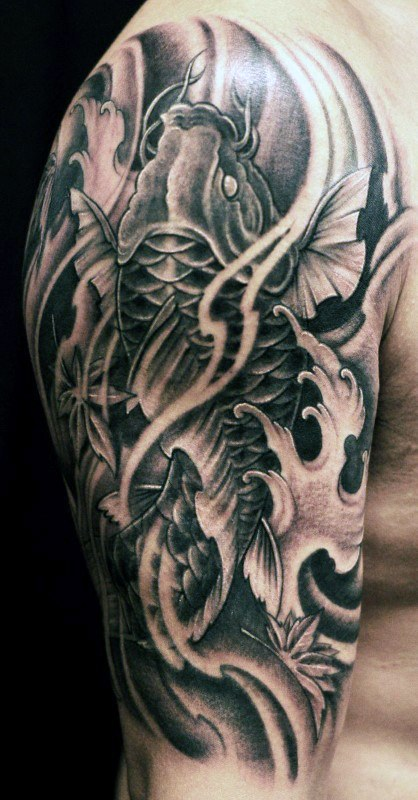 Koi fish tattoos for men ideas and inspiration for guys for Black koi carp tattoo