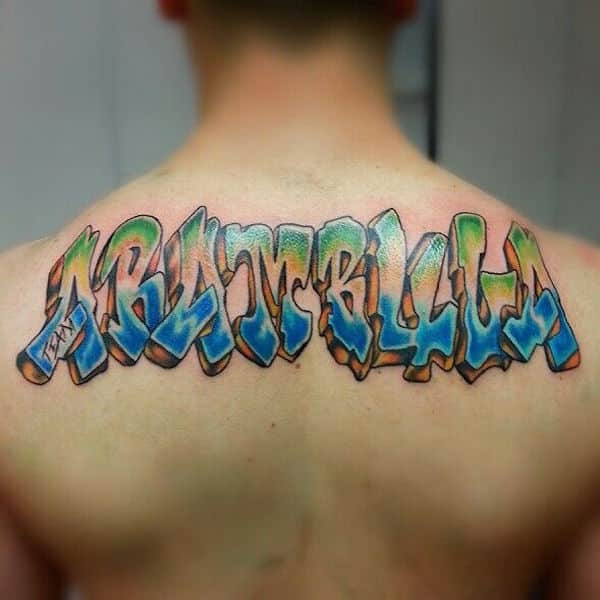 Name tattoos for men ideas and inspiration for guys for Last name tattoos on back