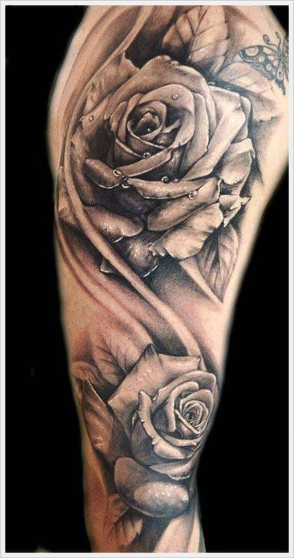 Rose tattoos for men ideas and inspiration for guys rose tattoo ideas are popular with the meaning it holds apart from its undying beauty two big roses elicit a fantastic artwork while fresh water droplets urmus Images