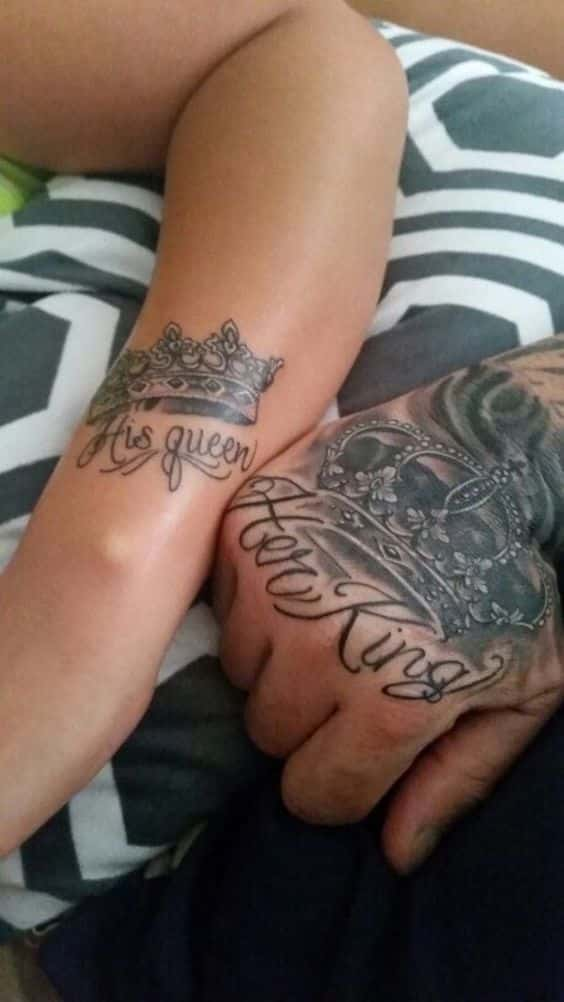 King And Queen Hand Tattoos