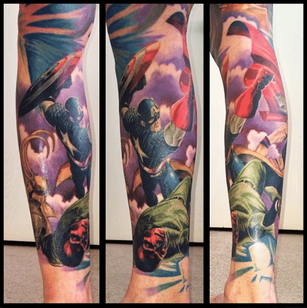 Marvel tattoos for men ideas and inspiration for guys for Marvel sleeve tattoo black and white