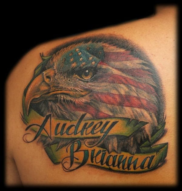 Eagle American Flag Tattoo