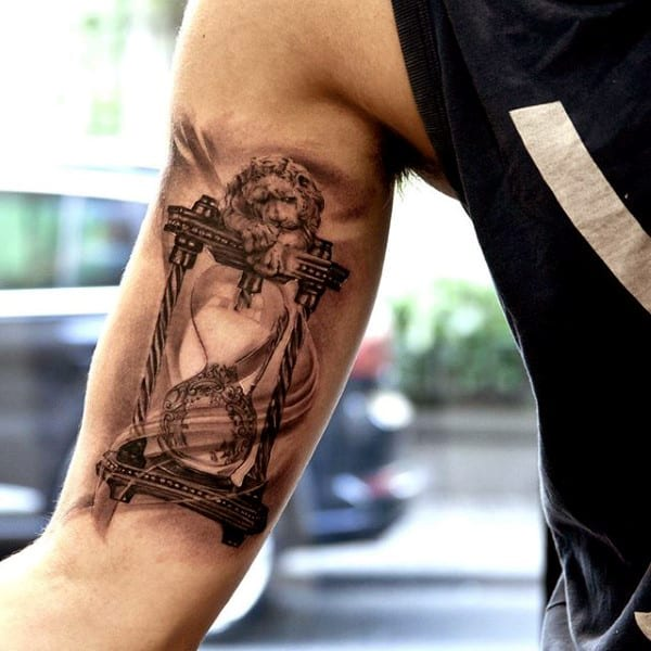 hourglass tattoos for men ideas and inspiration for guys. Black Bedroom Furniture Sets. Home Design Ideas