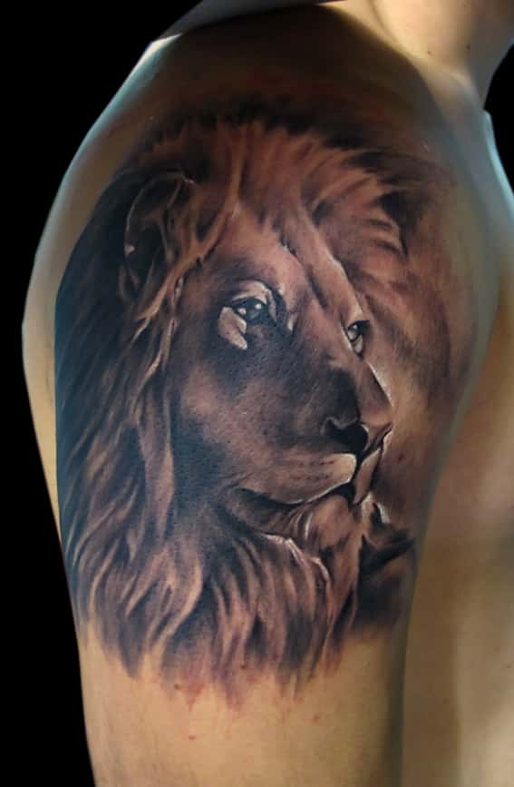 0cd0cd80a 05-leo-tattoos. This lion face has an amazing line work on it for an  extraordinary depth. It is hard to look away from it because of its  intriguing color ...