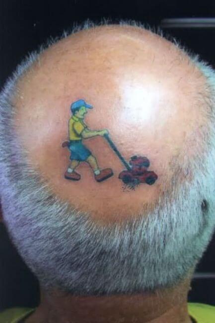 Funny tattoo fails - gardener haircut