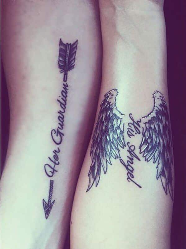 """853ce85d2cd42 This him and her matching couple tattoo design is related to the guardian  angel concept. The woman gets a black ink tattoo of a pair of wings that  has """"His ..."""