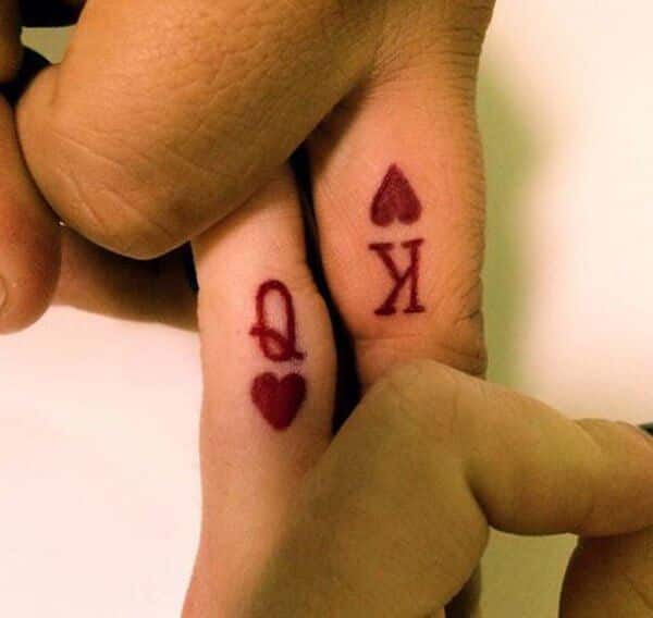 Another Design About Matching Couple Tattoos For Guys And Girls Is A Small King Queen Of Hearts Drawing The Man Can Get Letter K Heart His