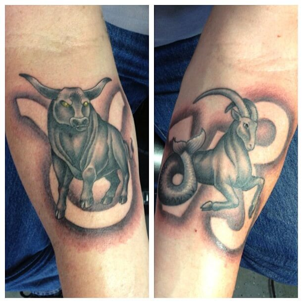 9786e815a720b Taurus tattoos idea wouldn't be considered risky with this image appearing  on both the lower forearms of the body. On the left is a bull image  superimposed ...