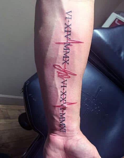 a41708675 A bright red heartbeat tattoo design with roman numbers and letters  separated by dots in capitals in clear black ink and all throughout the red  heartbeat ...