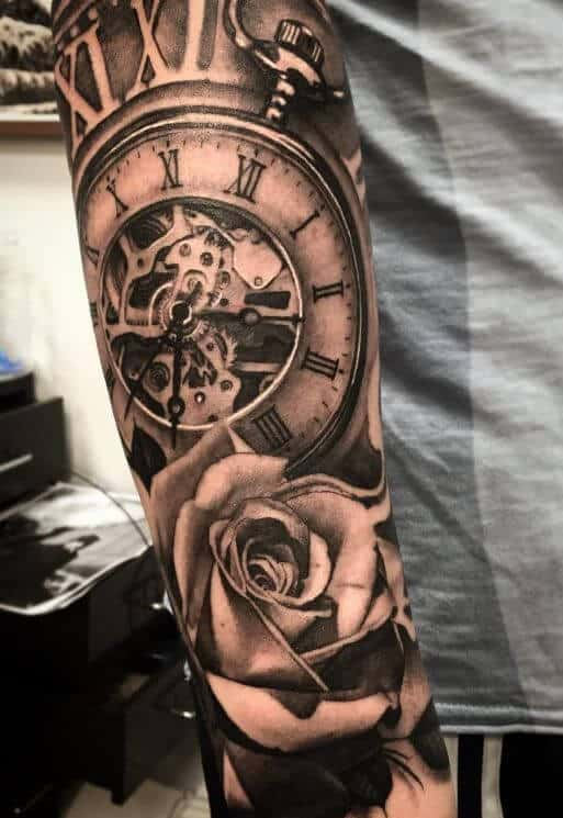 926dad1a7e8a2 Clock Tattoos for Men - Ideas and Designs for Guys