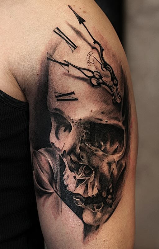 a6448fdcf Clock Tattoos for Men - Ideas and Designs for Guys